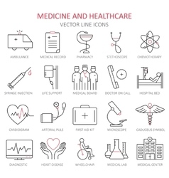 Modern thin line of icons on medicine vector image
