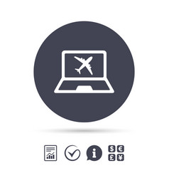 Online check-in sign airplane symbol travel vector