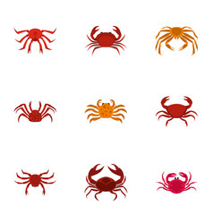 Overland crab icons set cartoon style vector