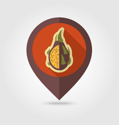 Pitaya flat pin map icon tropical dragon fruit vector