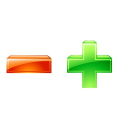 plus minus icons vector image vector image