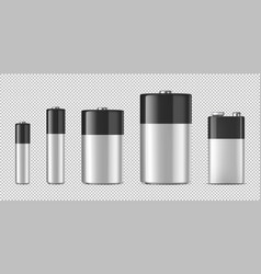 Realistic alkaline batteriy icon set vector