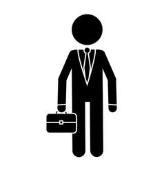 Silhouette character business man with suit vector