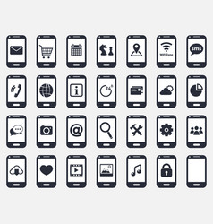 smartphone icon set vector image