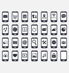 smartphone icon set vector image vector image