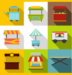 street food truck icon set flat style vector image