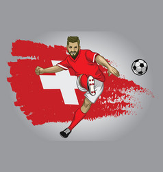 Switzerland soccer player with flag as a vector