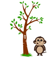 Tree and Monkey vector image vector image