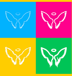 Wings sign four styles of icon on vector