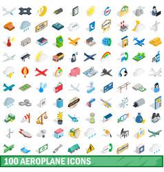 100 aeroplane icons set isometric 3d style vector image