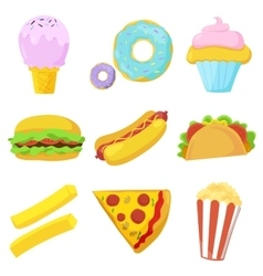 Cute fast food icons set vector