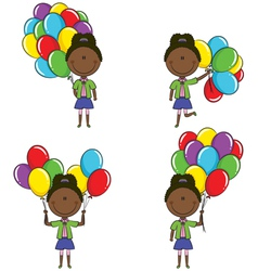 African-American girls with color balloons vector image