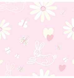 Baby seamless pattern with rabbit and butterfly vector image