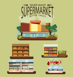 Set of supermarket departments fruit and milk vector