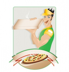 Pizza delivery boy vector