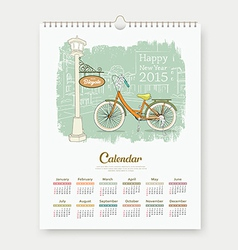 Calendar 2015 enjoy bicycle design vector