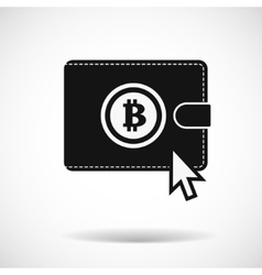 Bitcoin money purse icon with shadow on light vector