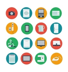 Icon set of household and computer equipment vector