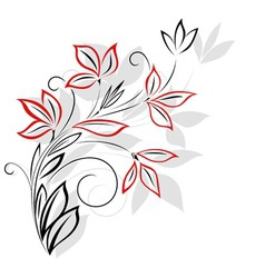 black and red floral pattern vector image