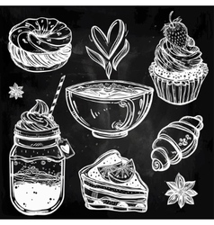 Sweet desserts icons set in vintage style vector image