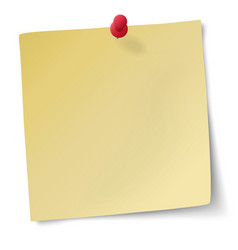 Yellow sticky note with drawing-pin vector