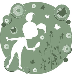 Silhouette of a girl in a meadow vector