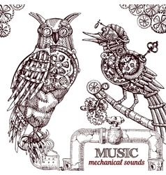 Steampunk style owl vector