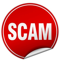Scam round red sticker isolated on white vector