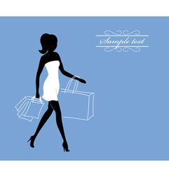 A girl with shopping bags vector