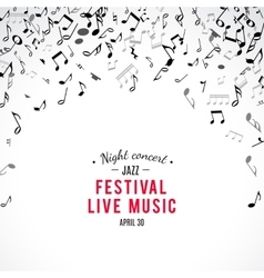 Abstract musical concert flyer with black notes on vector