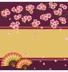 Background Japanese cherry tree sakura and fans vector image