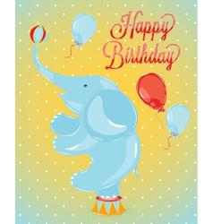 Birthday card elephant vector image