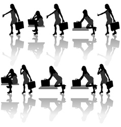 Business Woman Silhouettes vector image