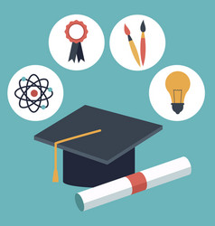 color background with closeup graduation cap and vector image vector image