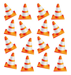 Colorful realistic pattern traffic cone set vector
