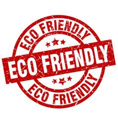 Eco friendly round red grunge stamp vector
