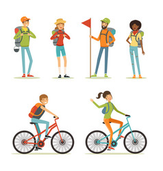 family tourism people hiking young people vector image