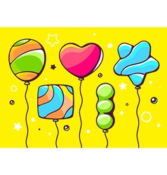 festive set of colorful striped balloons vector image vector image
