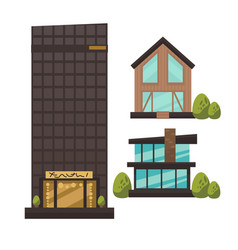 Flat set of modern urban architecture vector
