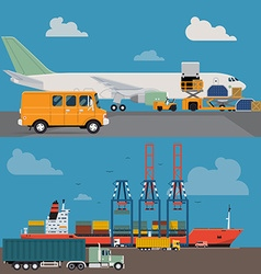 Freight and airways and seaways transport vector