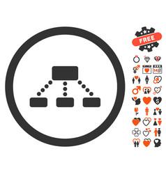 hierarchy icon with love bonus vector image