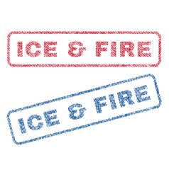 Ice fire textile stamps vector