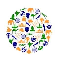 India country theme symbols color icons in circle vector