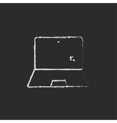 Laptop and cursor icon drawn in chalk vector image