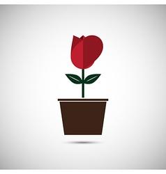 Love heart flower pot vector