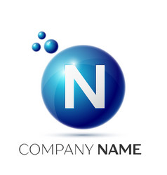 N letter splash logo blue dots and circle bubble vector