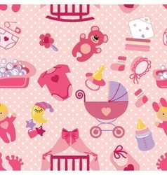 Newborn baby girl seamless patternpolka dot vector