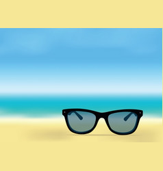 Ocean shore and sunglasses vector