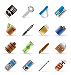 realistic object icons vector image