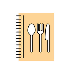 recipe book with cutlery kitchen vector image vector image
